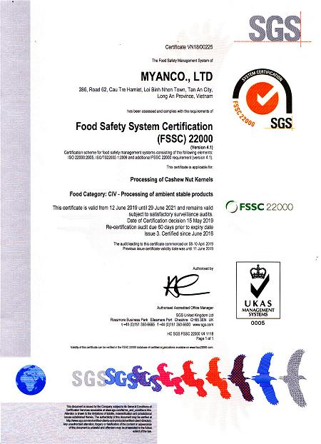 myan-cashew-exporter-food-safety-system-certification